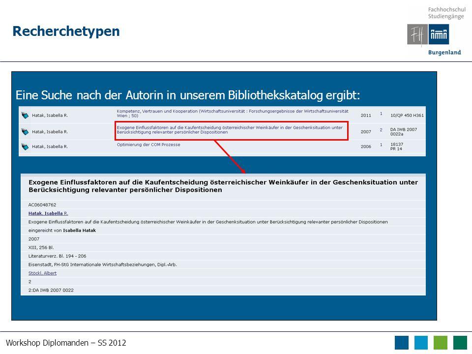 Workshop Diplomanden – SS 2012 RVK – Regensburger Verbundklassifikation
