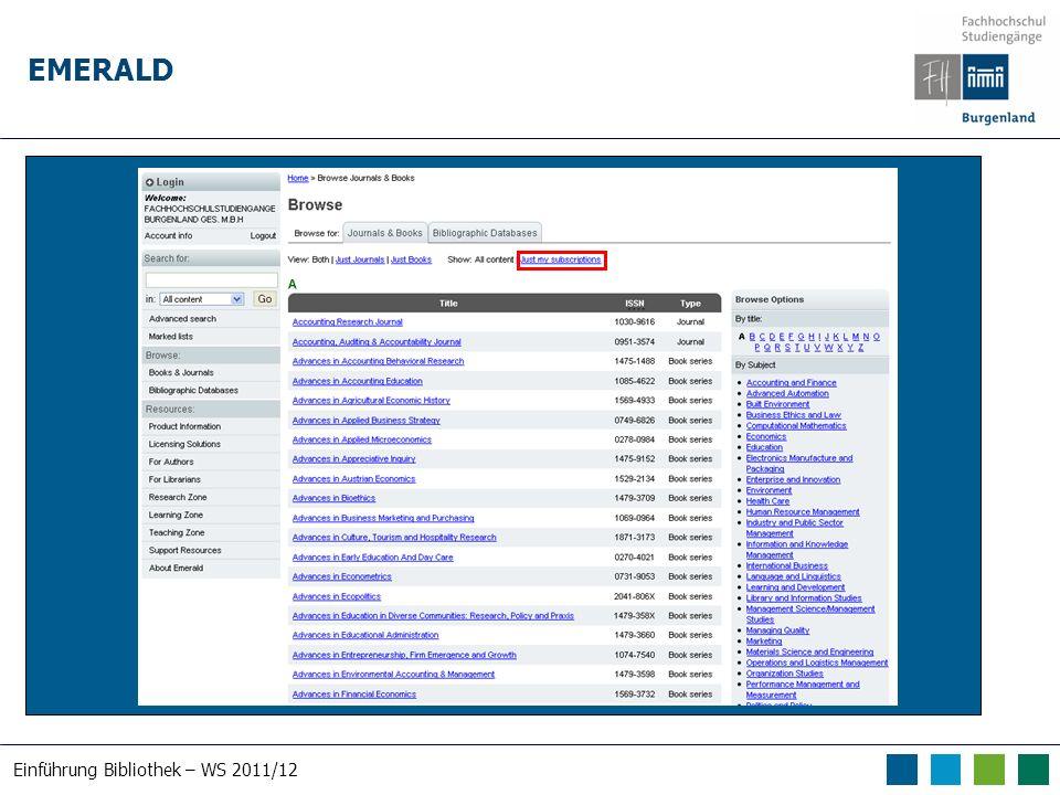 Einführung Bibliothek – WS 2011/12 EMERALD