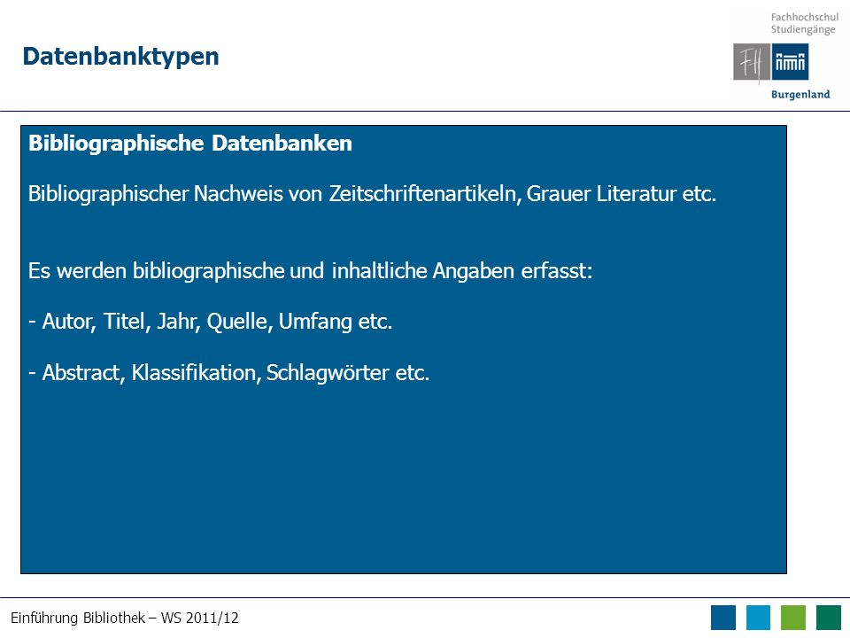 Einführung Bibliothek – WS 2011/12 Datenbanktypen Volltextdatenbanken Entwickelten sich aus bibliographischen Datenbanken die mit Volltexten angereichert wurden.