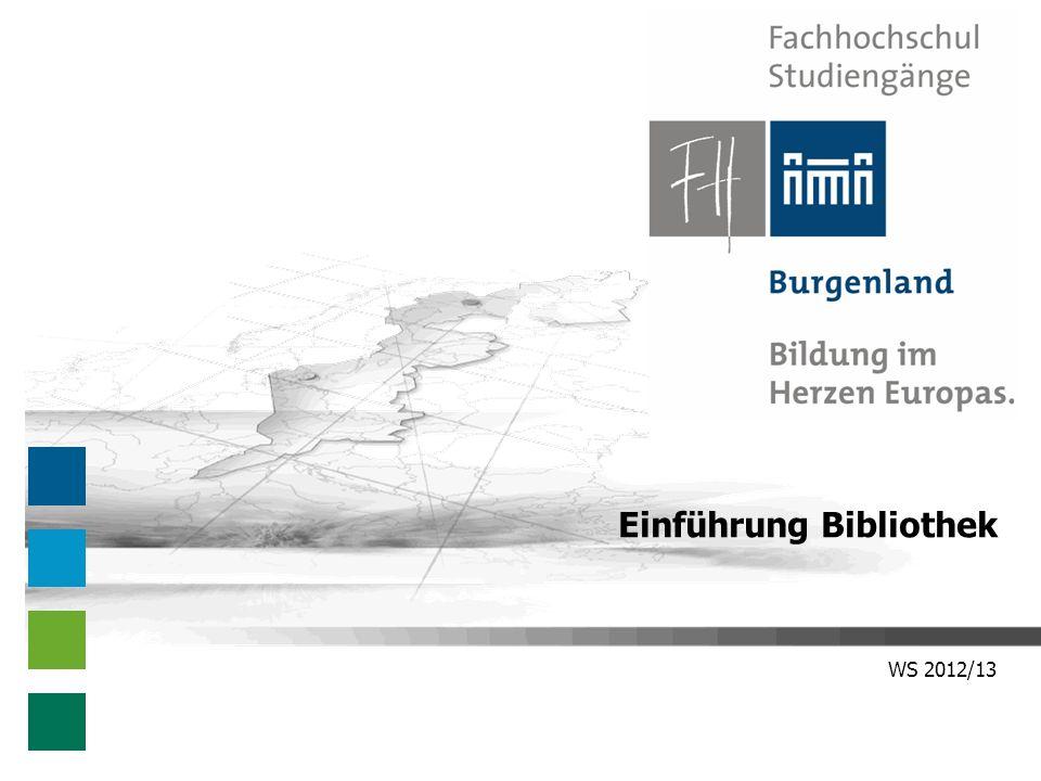 WS 2012/13 Einführung Bibliothek