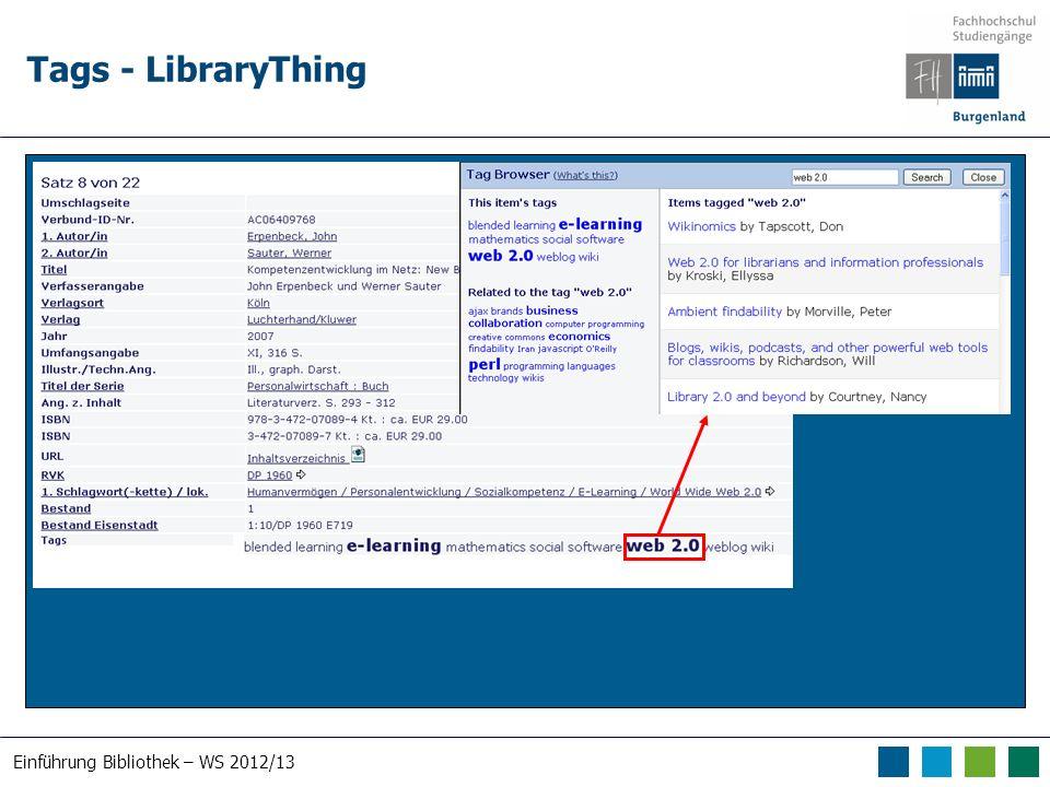 Einführung Bibliothek – WS 2012/13 Tags - LibraryThing