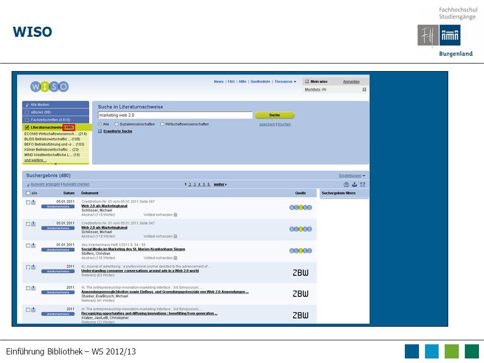 Einführung Bibliothek – WS 2012/13 WISO