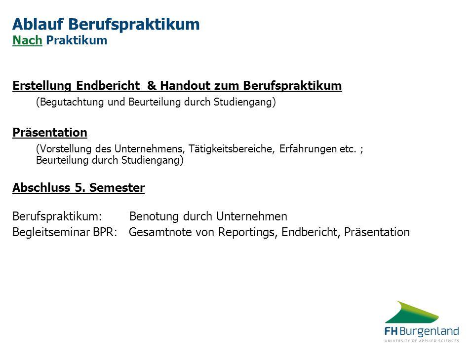 Ablauf Berufspraktikum Nach Praktikum Erstellung Endbericht & Handout zum Berufspraktikum (Begutachtung und Beurteilung durch Studiengang) Präsentatio