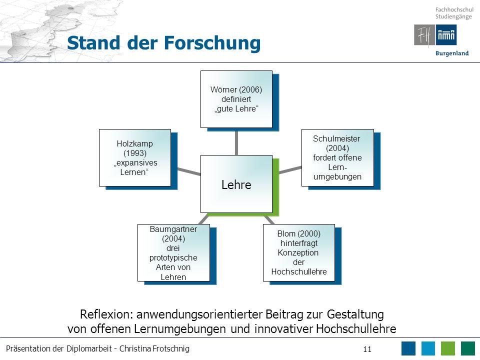 Präsentation der Diplomarbeit - Christina Frotschnig 11 Stand der Forschung Lehre Wörner (2006) definiert gute Lehre Schulmeister (2004) fordert offen