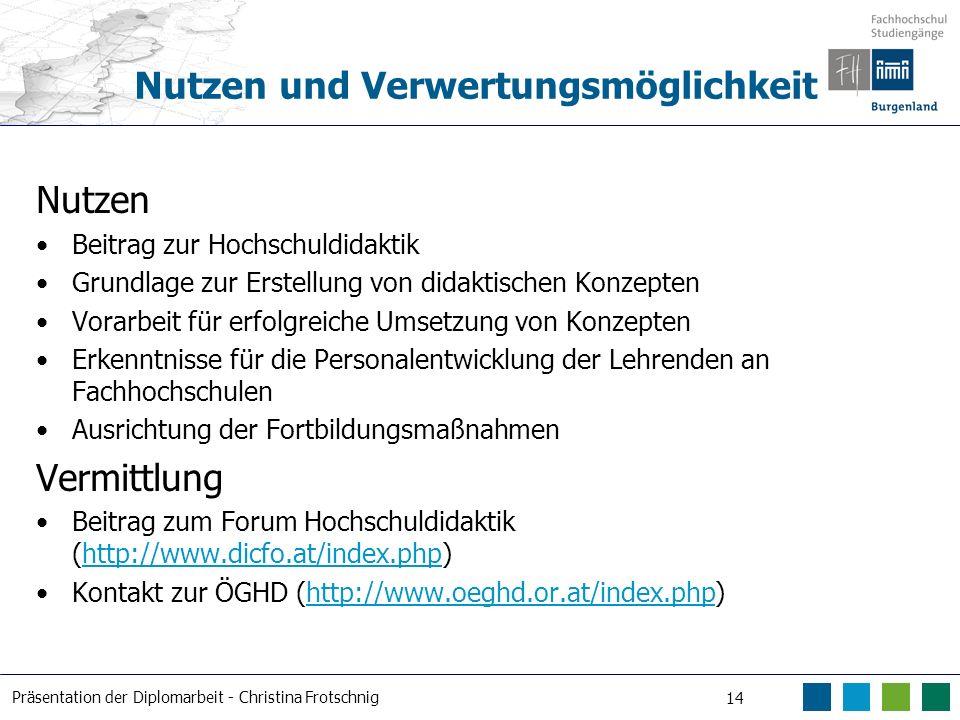 Präsentation der Diplomarbeit - Christina Frotschnig 14 Nutzen und Verwertungsmöglichkeit Nutzen Beitrag zur Hochschuldidaktik Grundlage zur Erstellun