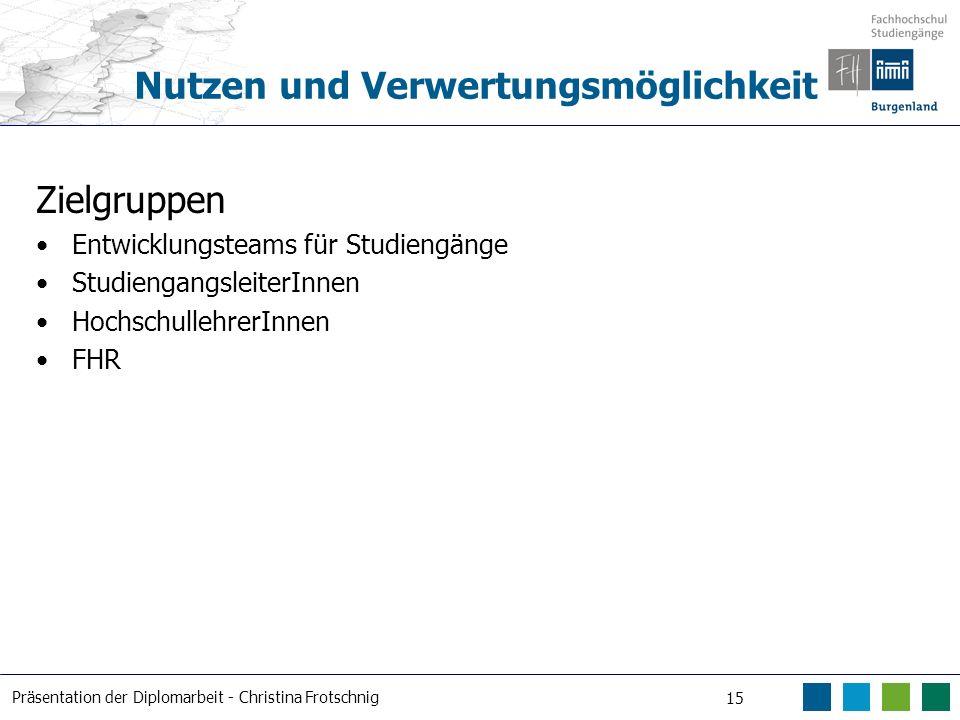 Präsentation der Diplomarbeit - Christina Frotschnig 15 Nutzen und Verwertungsmöglichkeit Zielgruppen Entwicklungsteams für Studiengänge Studiengangsl