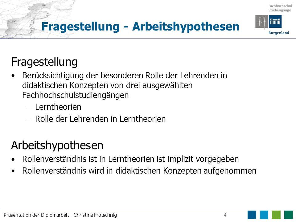 Präsentation der Diplomarbeit - Christina Frotschnig 4 Fragestellung - Arbeitshypothesen Fragestellung Berücksichtigung der besonderen Rolle der Lehre