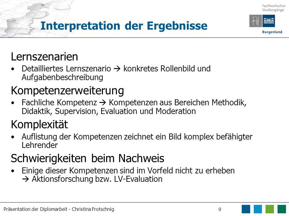 Präsentation der Diplomarbeit - Christina Frotschnig 9 Interpretation der Ergebnisse Lernszenarien Detailliertes Lernszenario konkretes Rollenbild und