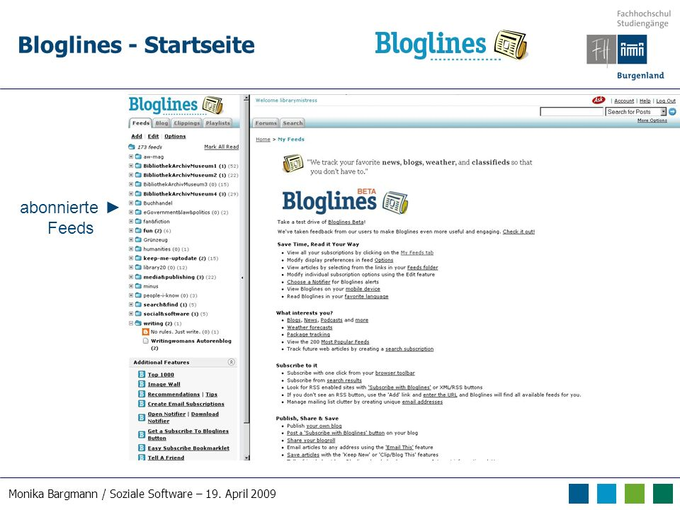 Monika Bargmann / Soziale Software – 19. April 2009 Bloglines - Startseite abonnierte Feeds