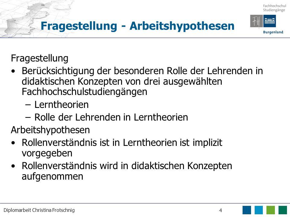 Diplomarbeit Christina Frotschnig 4 Fragestellung - Arbeitshypothesen Fragestellung Berücksichtigung der besonderen Rolle der Lehrenden in didaktische