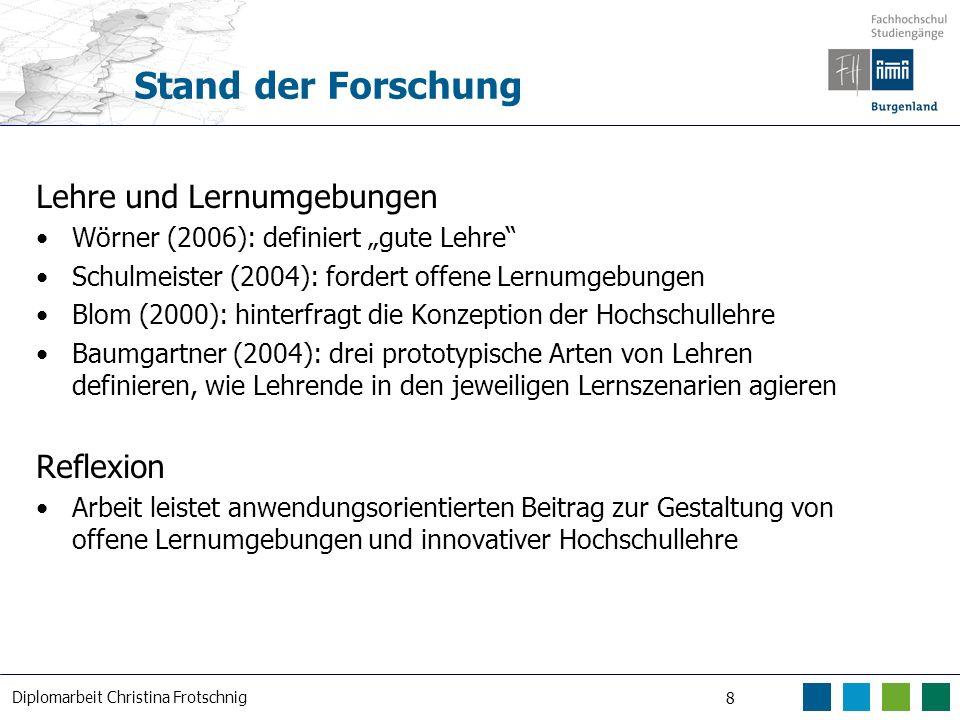 Diplomarbeit Christina Frotschnig 8 Stand der Forschung Lehre und Lernumgebungen Wörner (2006): definiert gute Lehre Schulmeister (2004): fordert offe