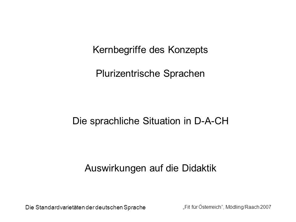 Die Standardvarietäten der deutschen Sprache Fit für Österreich, Mödling/Raach 2007 Kernbegriffe des Konzepts Plurizentrische Sprachen Die sprachliche