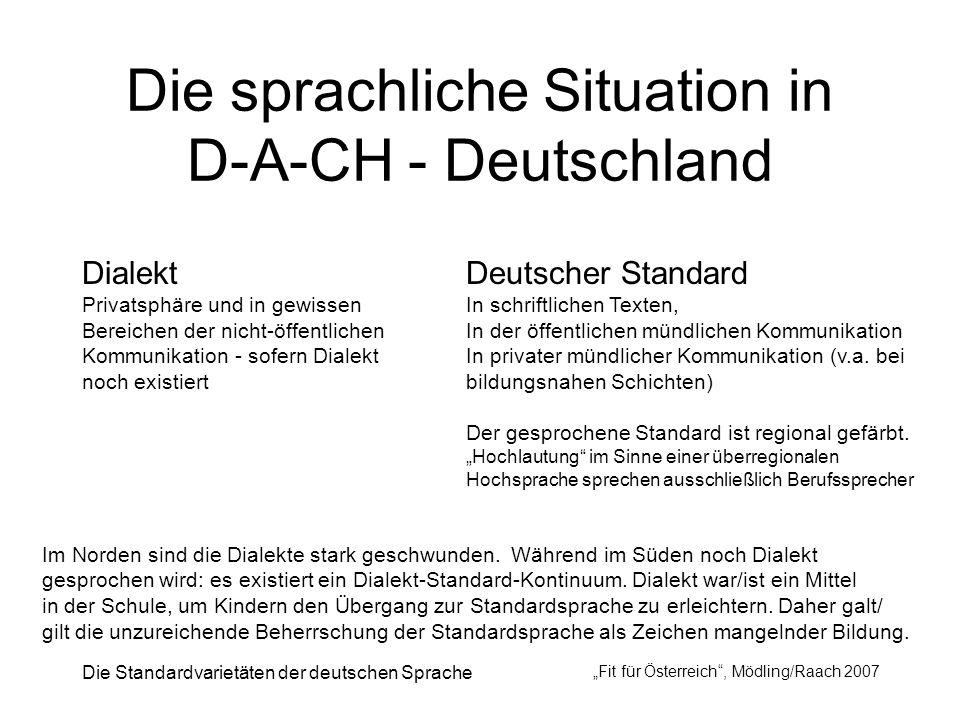 Die Standardvarietäten der deutschen Sprache Fit für Österreich, Mödling/Raach 2007 Die sprachliche Situation in D-A-CH - Deutschland Dialekt Privatsp