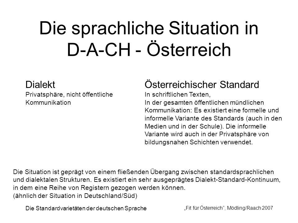 Die Standardvarietäten der deutschen Sprache Fit für Österreich, Mödling/Raach 2007 Die sprachliche Situation in D-A-CH - Österreich Dialekt Privatsph