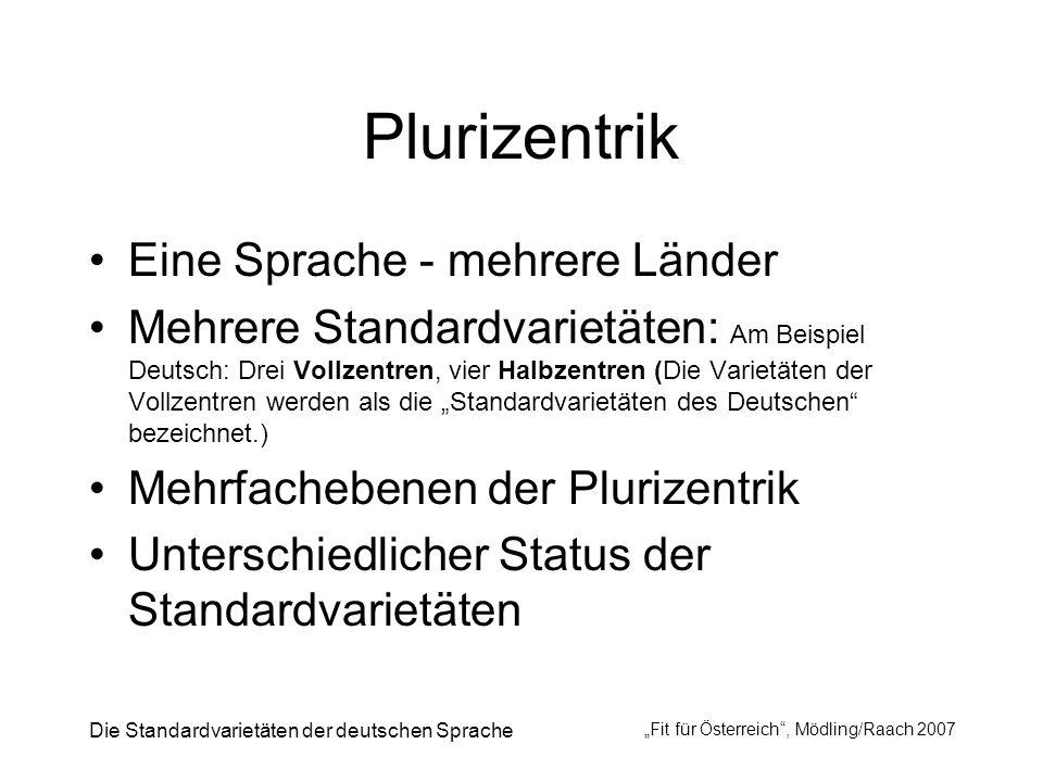 Die Standardvarietäten der deutschen Sprache Fit für Österreich, Mödling/Raach 2007 Plurizentrik Eine Sprache - mehrere Länder Mehrere Standardvarietä