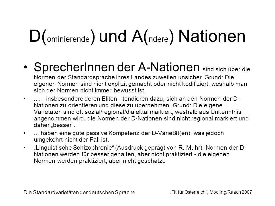 Die Standardvarietäten der deutschen Sprache Fit für Österreich, Mödling/Raach 2007 D( ominierende ) und A( ndere ) Nationen SprecherInnen der A-Natio