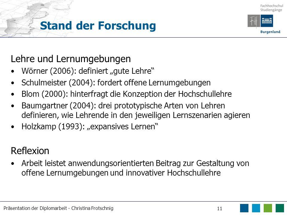 Präsentation der Diplomarbeit - Christina Frotschnig 11 Stand der Forschung Lehre und Lernumgebungen Wörner (2006): definiert gute Lehre Schulmeister