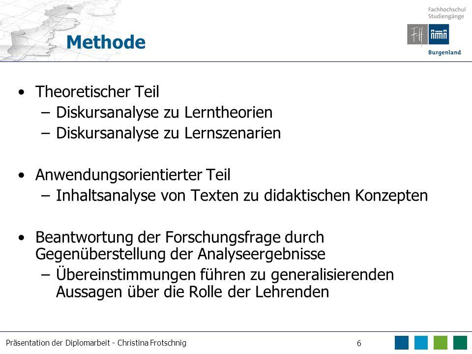 Präsentation der Diplomarbeit - Christina Frotschnig 6 Methode Theoretischer Teil –Diskursanalyse zu Lerntheorien –Diskursanalyse zu Lernszenarien Anw