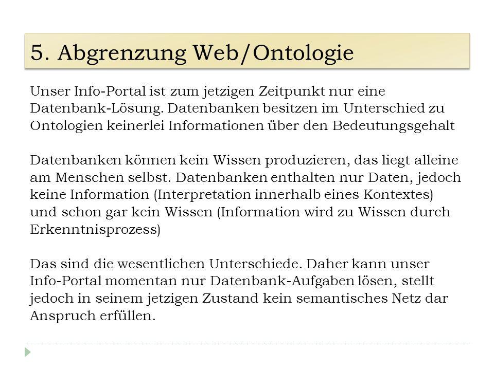 5. Abgrenzung Web/Ontologie Unser Info-Portal ist zum jetzigen Zeitpunkt nur eine Datenbank-Lösung. Datenbanken besitzen im Unterschied zu Ontologien