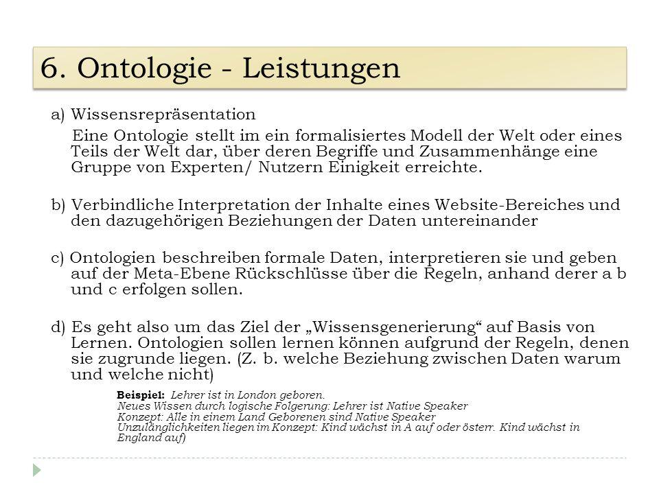 a) Wissensrepräsentation Eine Ontologie stellt im ein formalisiertes Modell der Welt oder eines Teils der Welt dar, über deren Begriffe und Zusammenhä