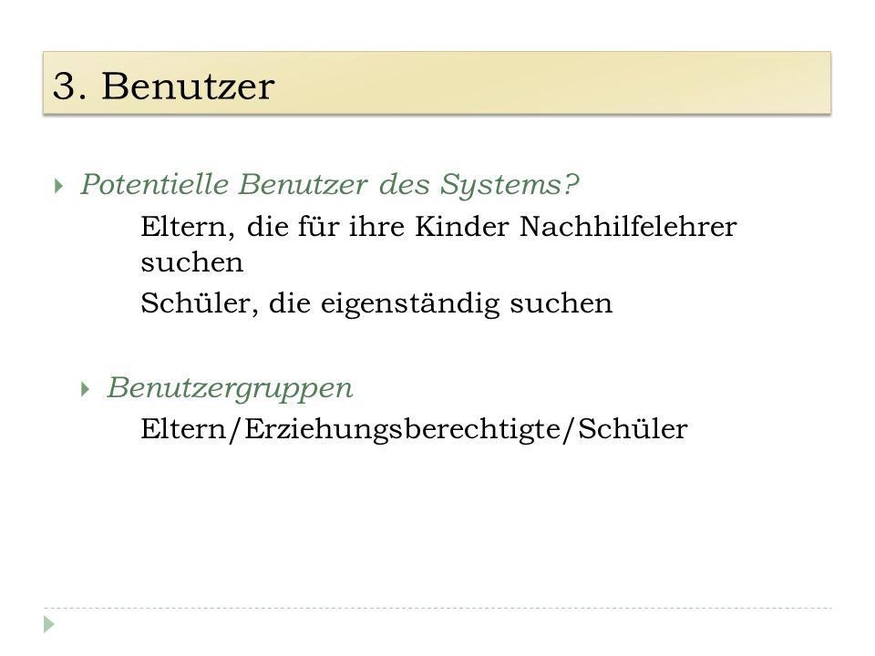 3. Benutzer Potentielle Benutzer des Systems.