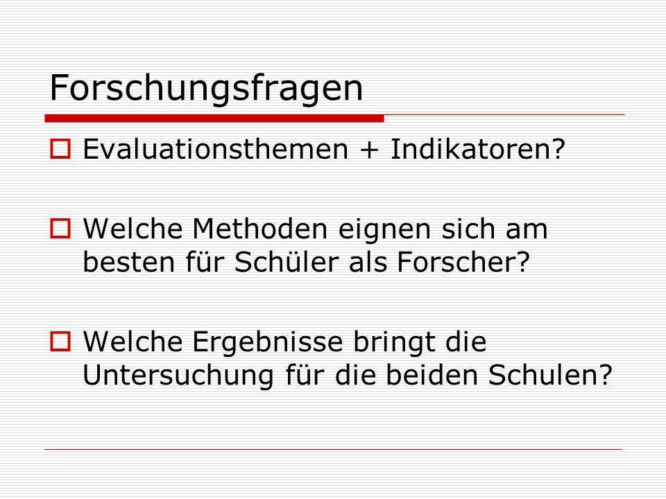Forschungsfragen Evaluationsthemen + Indikatoren.