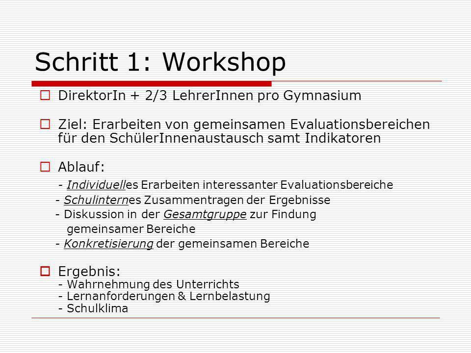 Schritt 1: Workshop DirektorIn + 2/3 LehrerInnen pro Gymnasium Ziel: Erarbeiten von gemeinsamen Evaluationsbereichen für den SchülerInnenaustausch sam