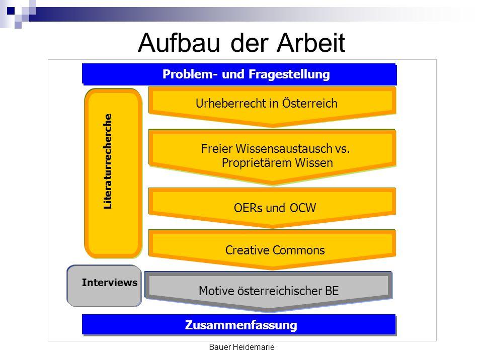 Bauer Heidemarie Aufbau der Arbeit Problem- und Fragestellung Zusammenfassung Literaturrecherche Interviews Freier Wissensaustausch vs.