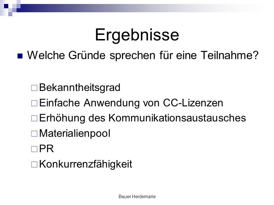 Bauer Heidemarie Ergebnisse Welche Gründe sprechen für eine Teilnahme.