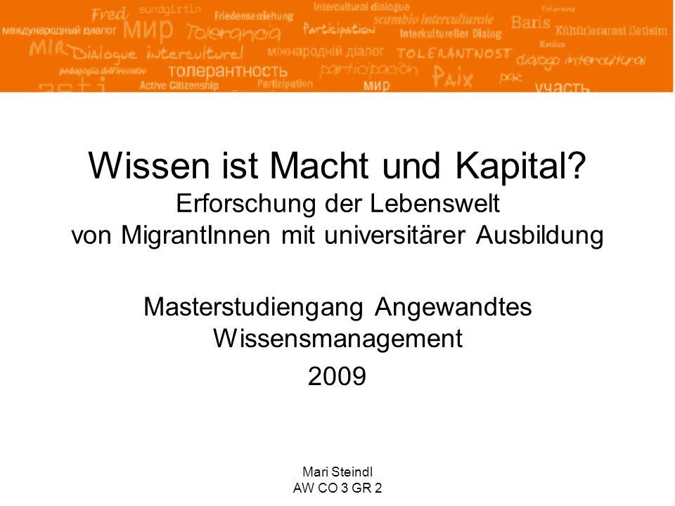 Mari Steindl AW CO 3 GR 2 Wissen ist Macht und Kapital? Erforschung der Lebenswelt von MigrantInnen mit universitärer Ausbildung Masterstudiengang Ang