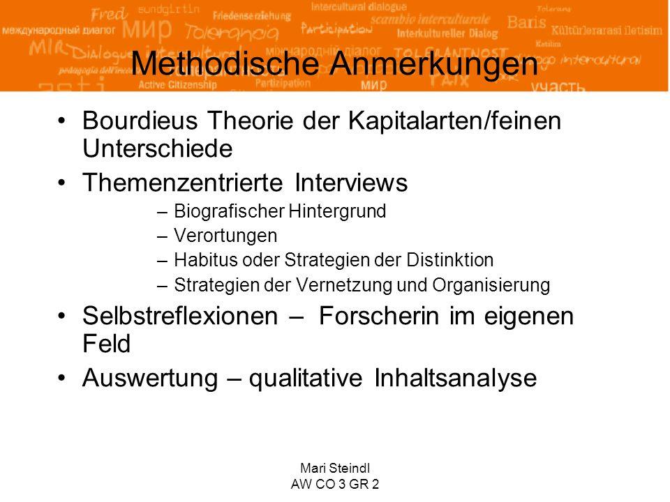 Mari Steindl AW CO 3 GR 2 Methodische Anmerkungen Bourdieus Theorie der Kapitalarten/feinen Unterschiede Themenzentrierte Interviews –Biografischer Hi
