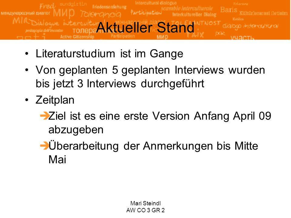 Mari Steindl AW CO 3 GR 2 Aktueller Stand Literaturstudium ist im Gange Von geplanten 5 geplanten Interviews wurden bis jetzt 3 Interviews durchgeführ