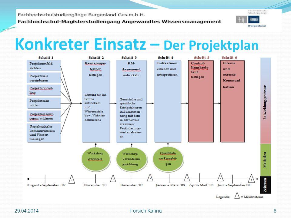 Konkreter Einsatz – Der Projektplan 29.04.2014 Forsich Karina 8