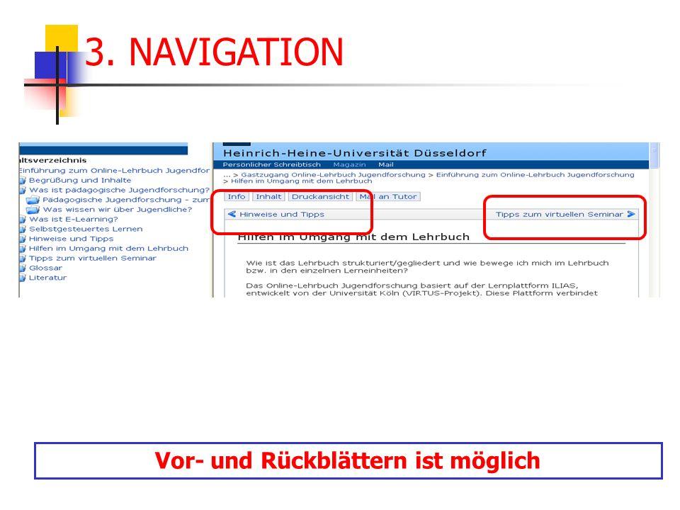 3. NAVIGATION Vor- und Rückblättern ist möglich