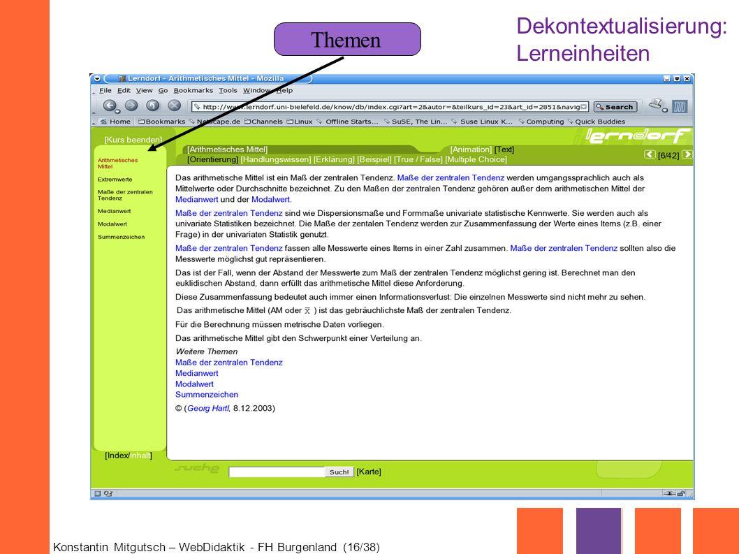 Konstantin Mitgutsch – WebDidaktik - FH Burgenland (16/38) Themen Dekontextualisierung: Lerneinheiten