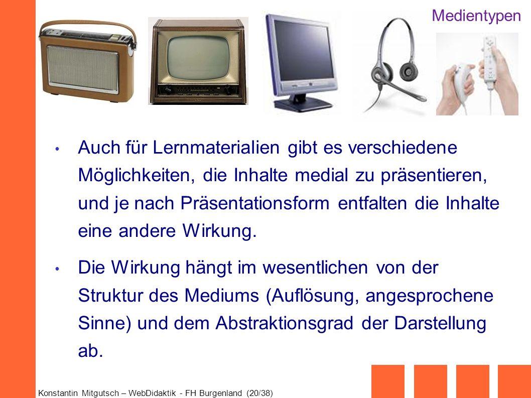 Konstantin Mitgutsch – WebDidaktik - FH Burgenland (20/38) Auch für Lernmaterialien gibt es verschiedene Möglichkeiten, die Inhalte medial zu präsenti