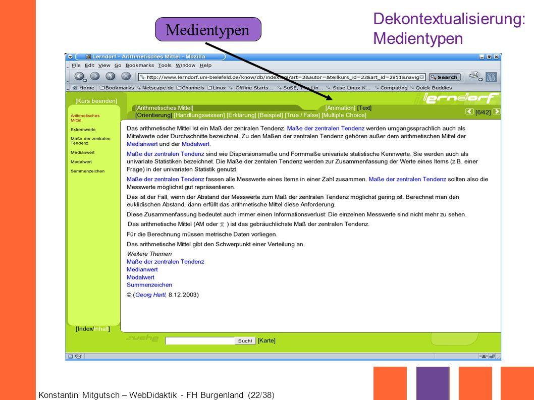 Konstantin Mitgutsch – WebDidaktik - FH Burgenland (22/38) Medientypen Dekontextualisierung: Medientypen