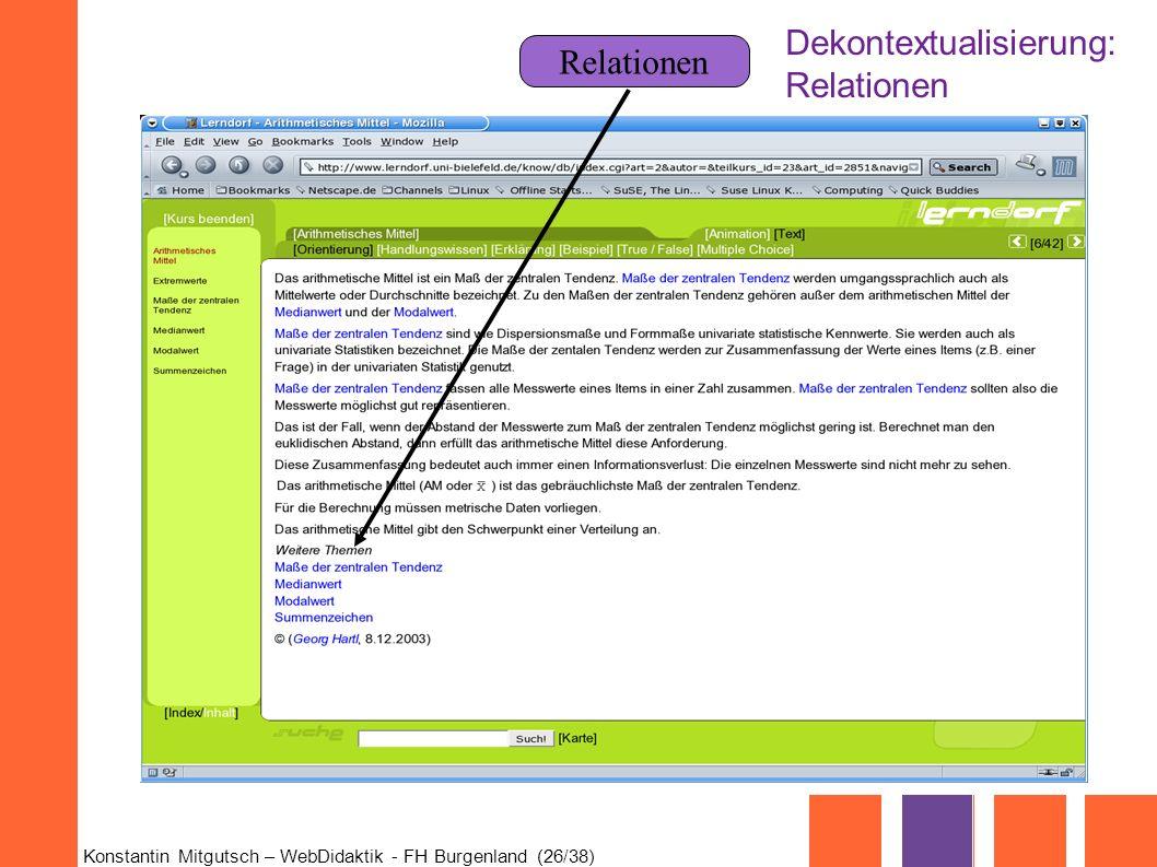 Konstantin Mitgutsch – WebDidaktik - FH Burgenland (26/38) Relationen Dekontextualisierung: Relationen