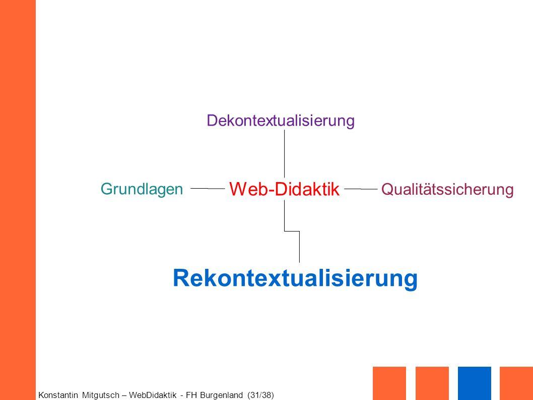 Konstantin Mitgutsch – WebDidaktik - FH Burgenland (31/38) Web-Didaktik Grundlagen Dekontextualisierung Rekontextualisierung Qualitätssicherung