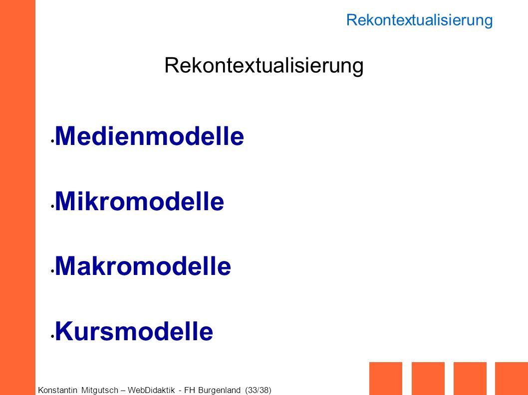 Konstantin Mitgutsch – WebDidaktik - FH Burgenland (33/38) Rekontextualisierung Medienmodelle Mikromodelle Makromodelle Kursmodelle Rekontextualisieru