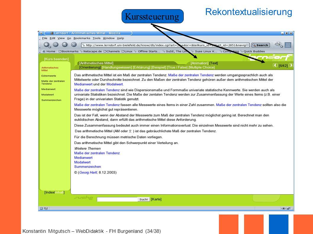 Konstantin Mitgutsch – WebDidaktik - FH Burgenland (34/38) Kurssteuerung Rekontextualisierung