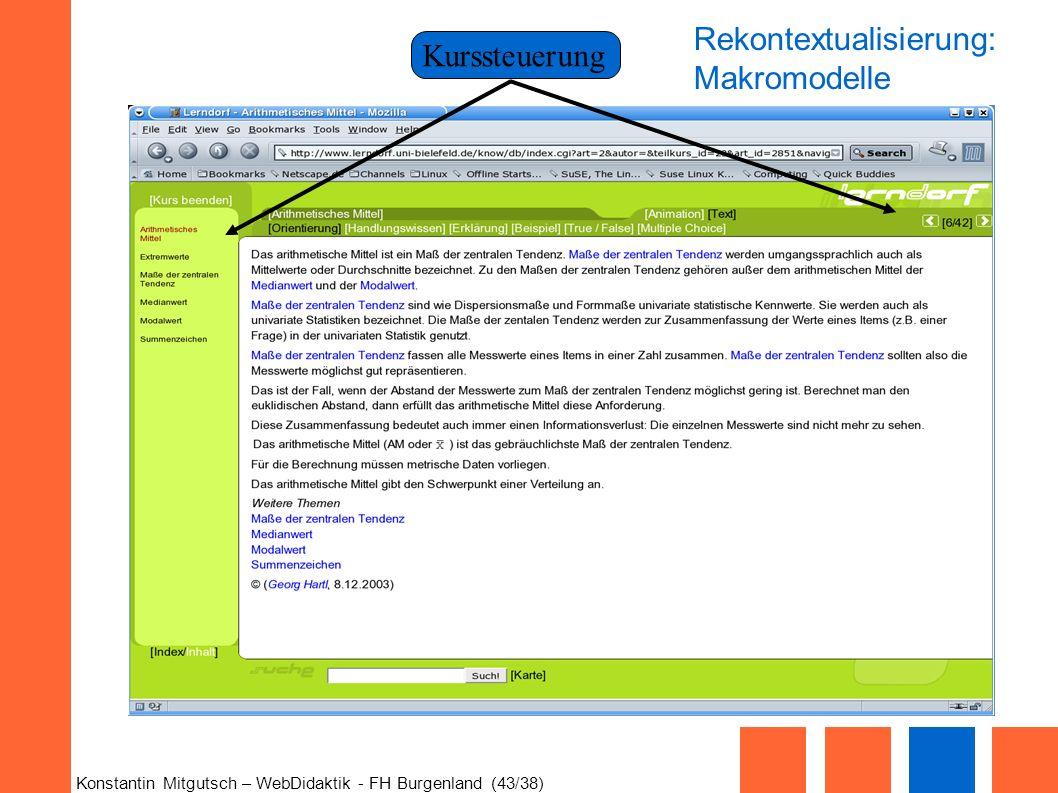 Konstantin Mitgutsch – WebDidaktik - FH Burgenland (43/38) Kurssteuerung Rekontextualisierung: Makromodelle