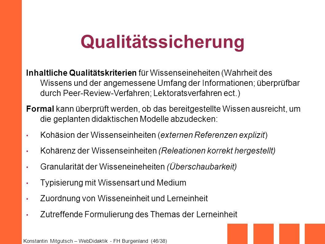 Konstantin Mitgutsch – WebDidaktik - FH Burgenland (46/38) Qualitätssicherung Inhaltliche Qualitätskriterien für Wissenseineheiten (Wahrheit des Wisse