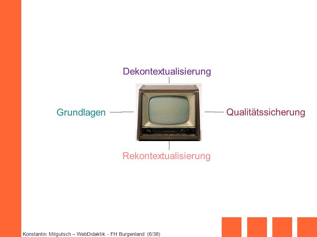 Konstantin Mitgutsch – WebDidaktik - FH Burgenland (6/38) Web-Didaktik Grundlagen Qualitätssicherung Dekontextualisierung Rekontextualisierung
