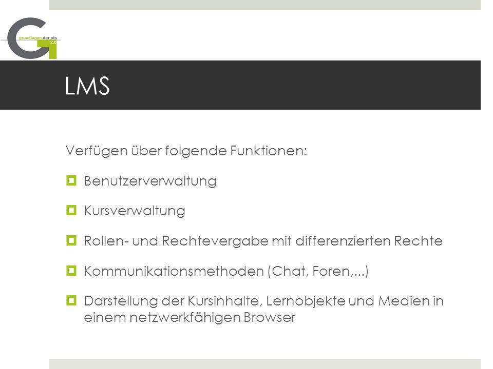LMS Verfügen über folgende Funktionen: Benutzerverwaltung Kursverwaltung Rollen- und Rechtevergabe mit differenzierten Rechte Kommunikationsmethoden (