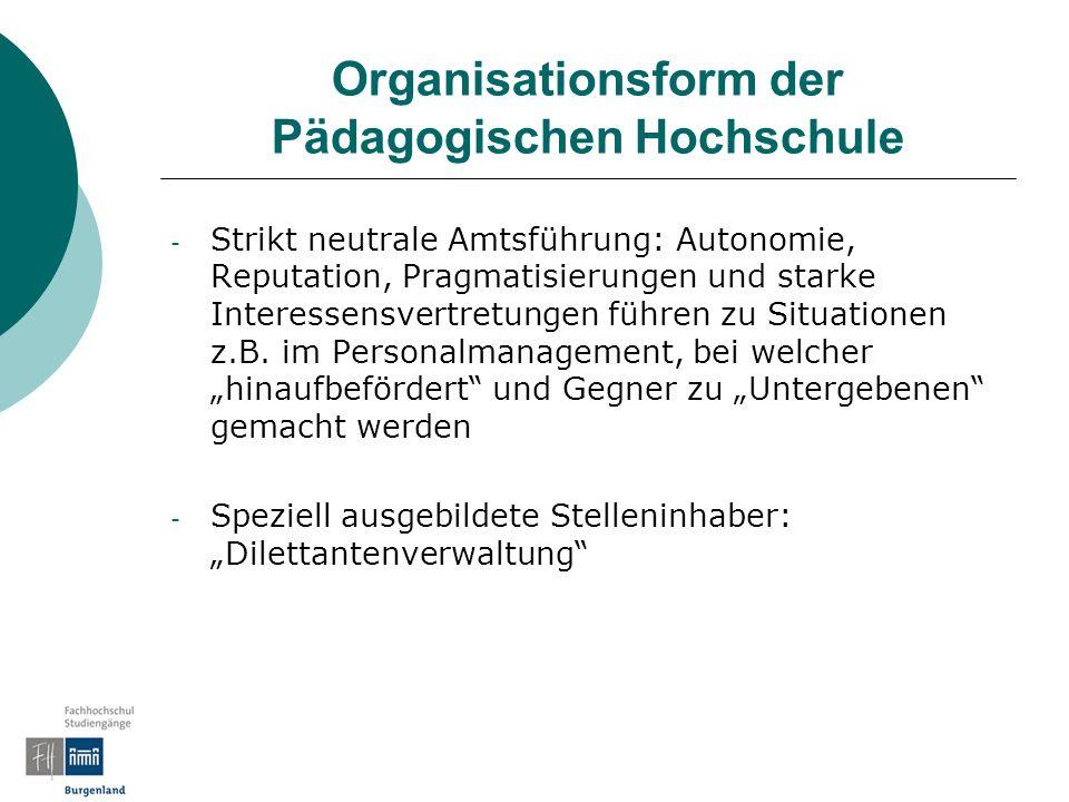 Organisationsform der Pädagogischen Hochschule - Strikt neutrale Amtsführung: Autonomie, Reputation, Pragmatisierungen und starke Interessensvertretungen führen zu Situationen z.B.