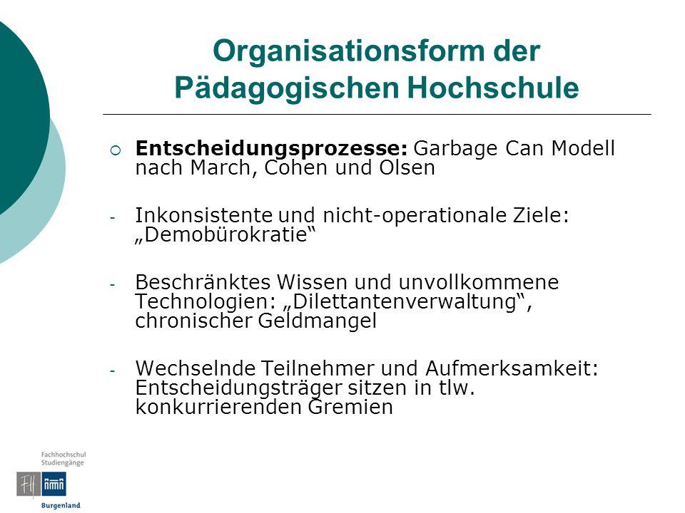 Organisationsform der Pädagogischen Hochschule Entscheidungsprozesse: Garbage Can Modell nach March, Cohen und Olsen - Inkonsistente und nicht-operati