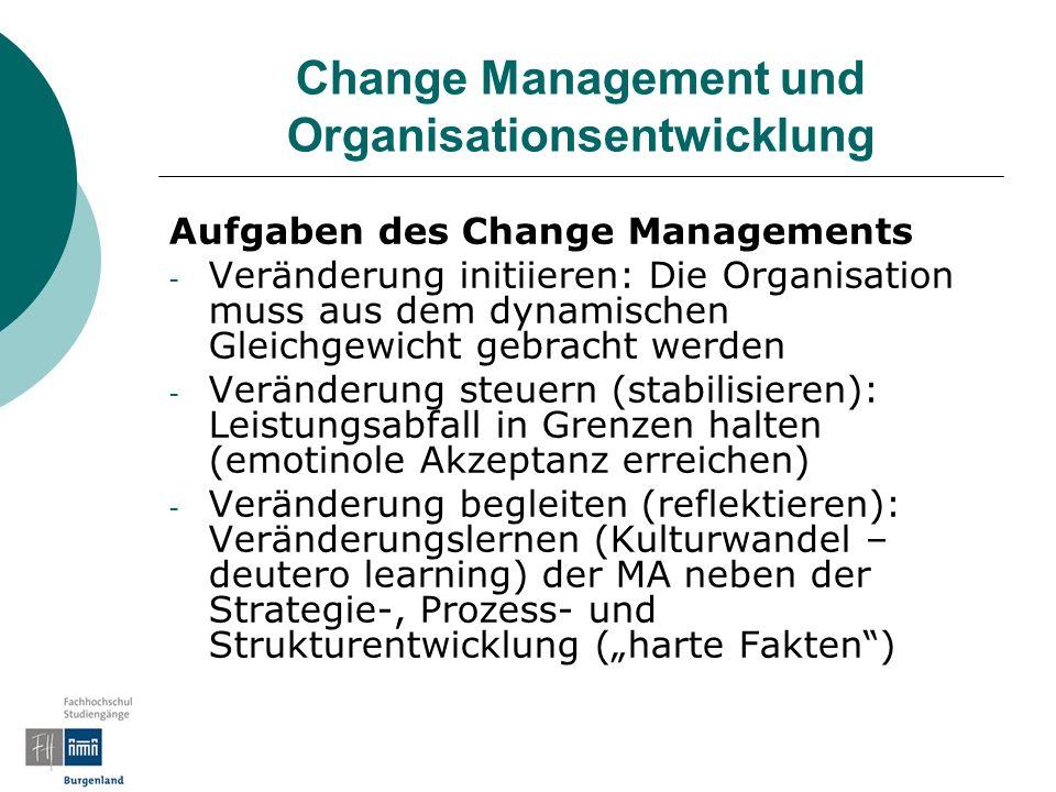 Change Management und Organisationsentwicklung Aufgaben des Change Managements - Veränderung initiieren: Die Organisation muss aus dem dynamischen Gle