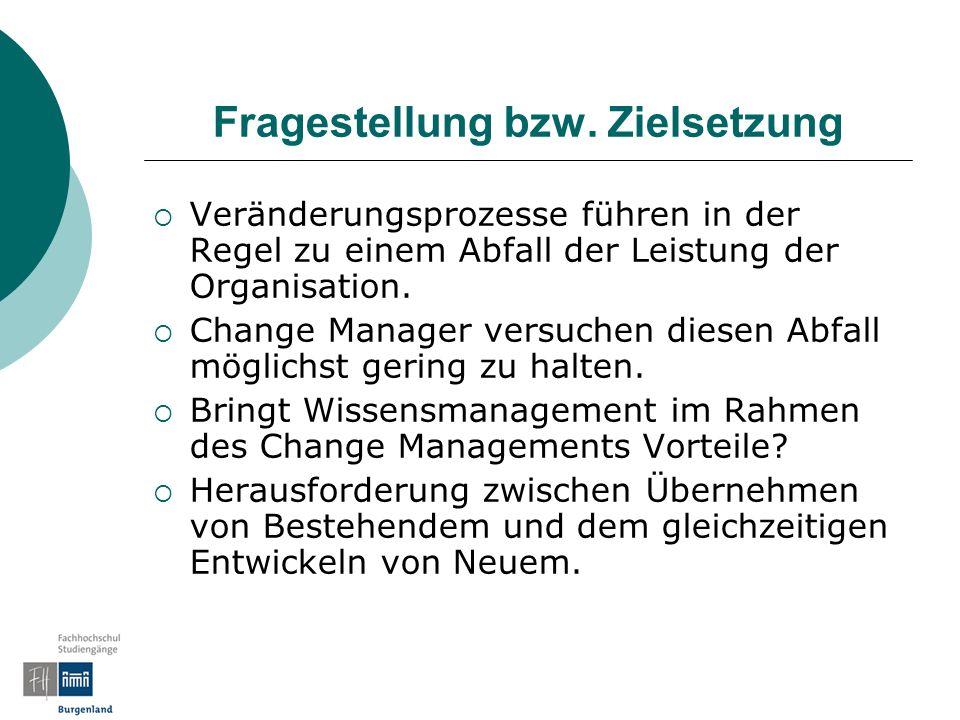 Change Management und Organisationsentwicklung Aufgaben des Change Managements - Veränderung initiieren: Die Organisation muss aus dem dynamischen Gleichgewicht gebracht werden - Veränderung steuern (stabilisieren): Leistungsabfall in Grenzen halten (emotinole Akzeptanz erreichen) - Veränderung begleiten (reflektieren): Veränderungslernen (Kulturwandel – deutero learning) der MA neben der Strategie-, Prozess- und Strukturentwicklung (harte Fakten)