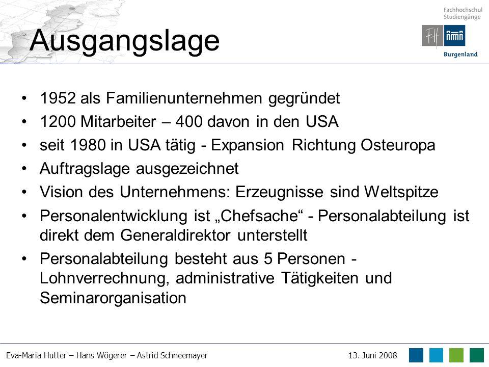 Eva-Maria Hutter – Hans Wögerer – Astrid Schneemayer13. Juni 2008 Ausgangslage 1952 als Familienunternehmen gegründet 1200 Mitarbeiter – 400 davon in
